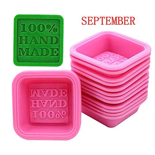 September Lot de 10moules de cuisine en silicone en forme de savon estampillés «100% Handmade»