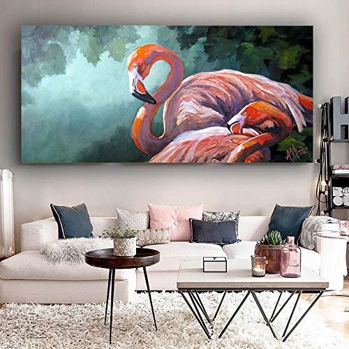 Nordic stijl moderne canvas art abstract liefde vogel slaap dier foto woonkamer muurschildering decoratie frameloze schilderij 75x150cm