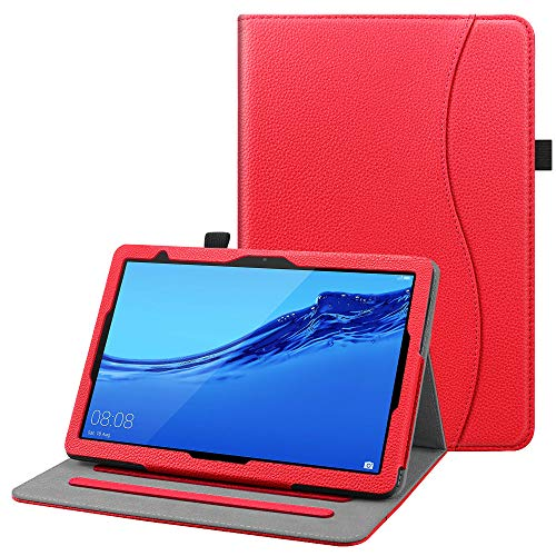 FINTIE Custodia Cover per Huawei MediaPad T5 10 - [Multi-angli] Slim Fit Folio Pieghevole Cover Protettiva con Tasca delle Carte perHuawei MediaPad T5 10.1 Pollici 2018, Rosso
