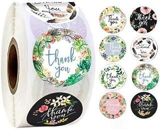 500 Pcs 1 Inch Thank You Sticker, Roll Kraft Stickers, Bulk Gift Labels, Round Label Sticker for Gift Shop Handmade Sticke...