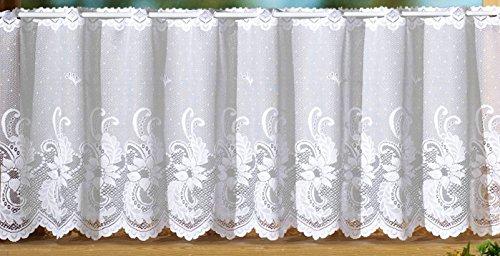 heimtexland Gardine Scheibengardine mit handgebogter Blumen Bordüre aus edlem Jacquard - HxB 50x145cm - Ökotex …auspacken, aufhängen, fertig! Vorhang Typ72