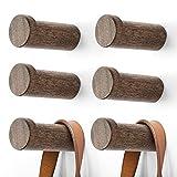 "Wooden Coat Hook Wall Mounted (3"" Pack 6) Hat Hooks, Single Coat Hat Rack Wall Mount, Wood Coat Hanger for Hanging Hat, Towel, Bag, Rope (Dark Grey)"
