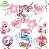 Sunshine smile Einhorn Geburtstagsdeko, Einhorn Party Mädchen Geburtstagsdeko Luftballons,Einhorn...