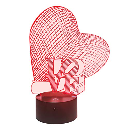 3D Illusion Nachtlampe, S SUNINESS 7 Farben ändern Touch Control LED Schreibtisch Tisch Nachtlicht für Kinder Kinder Familie Ferienhaus Dekoration Valentinstag beste Geschenk (Liebe)