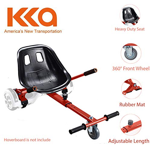 Adjustable Hoverboard Seat Attachment, Go Kart, Hoverboard Go Cart Accessories, Heavy Duty Frame, Fun for Kids Fits 6.5'/8'/10', Go Kart Conversion Kit for Hoverboard (RED)