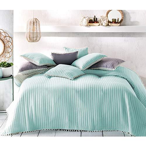 JEMIDI Tagesdecke Bett & Sofaüberwurf Bommel 220cm x 200cmvon Bettüberwurf Sofa Tages Decken Betthusse XXL Decke Mint