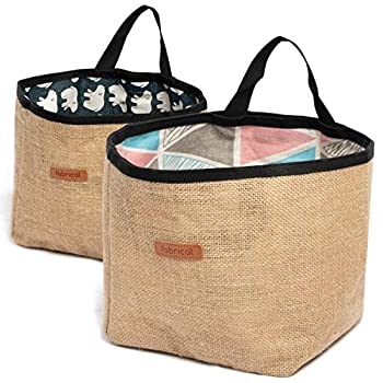 Pack of 2 - Fabrical Linen Storage Bag - Linen Baskets with Stowable Handles - Standing Hanging on Wall - 8 x 8  Bins - Organizer Box Decorative Storage on Shelf Wall-Hanging Basket  Blue - Pink