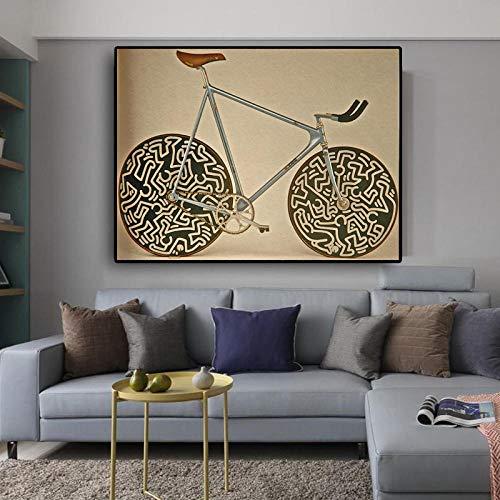 Poster beroemd merk fiets afbeelding abstracte kunst klassieke canvas schilderijen wandschilderijen voor de woonkamer Cuadros muurkunst 60x80cmx1 niet ingelijst