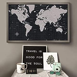 Modern World Travel Map with Pins Modern Slate Style Push Pin Travel Map