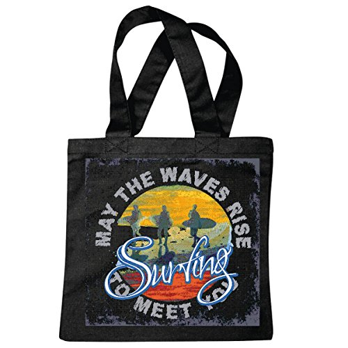 Tasche Umhängetasche May The Waves Rise SURFEN Beach Surfbrett Longboard Wellenreiten Wellen ANFÄNGER Shop Einkaufstasche Schulbeutel Turnbeutel in Schwarz