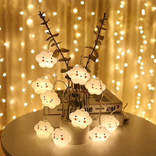 Indoor String Lights, Battery Powered Fairy String Lights Waterproof, 20 LED Cute Decoration Extendable for Indoor, Outdoor, Kids Bedroom, Christmas Tree, New Year, Garden Decoration, Warm White