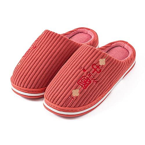 DHYF Zapatillas de Invierno para Interior y Exterior,Pantuflas de algodón Antideslizantes de Suela Gruesa, Pantuflas cálidas de Invierno-Rojo_35-36,Pantuflas cálidas Pantuflas Ligeras y Suaves