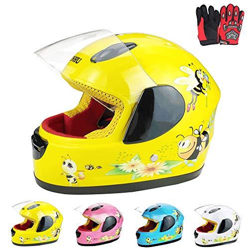 ZJRA Boys & Girls Kinder Motorrad-Sturzhelm Für Kinder, Fahrrad, Full Face Fahrradhelm, Moped, Roller, Sport, Geeignet Für Unter 10 Jahre Alt, 52Cm,Gelb