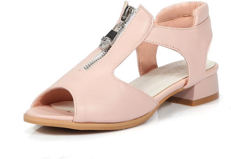 WeiPoot Women's Soft Material Zipper Peep Toe Low-Heels Solid Sandals
