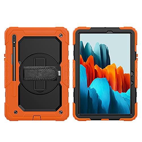 Lobwerk Funda 4 en 1 para Samsung Galaxy Tab S7 T-870 T-875 de 11 pulgadas, antigolpes, con función atril, color naranja