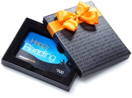 Amazon.com $500 Gift Card in a Black Gift Box (Amazon Kindle Card Design)