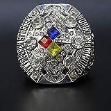 LIEOAGB Bague pour homme en acier avec réplique de ballon de rugby 2008 Steelers Super Bowl Championnat américain Football avec boîte cadeau Argenté 12 #