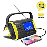 Emergency NOAA Weather Crank Solar Powered Portable Radio with 4000mAh Battery Power for Cell Phone, Bright Flashlight for Household Emergency and Outdoor Survival (097-Yellow)