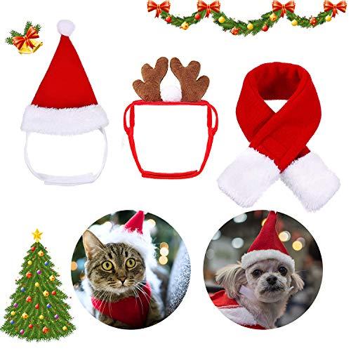 Cat Dog Santa Christmas Hat, Muffler and Elk Antler Reindeer Hat, Hats for Cats, Head Wear...