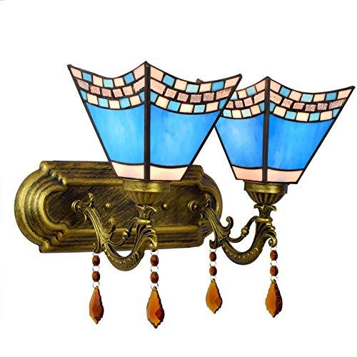 QEGY Lámpara de Pared Tiffany Estilo Vidrio Azul, E27 Aplique de Pared Vintage con 2llamas Sala de Estar, Luz de Pared Cristal Pastoral Pasillos, para Cocina Cuarto de Niños Iluminación de pared
