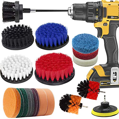 Drill Brush Attachment Set, VONDERSO 23 Pcs Power Scrubber Drill Brush Kit, Scrub Brush With Extend Long Attachment, Scrubbing Pads Cleaning Kit For Tile Sealants, Bathtub, Sinks, Floor, Wheels, Carpe
