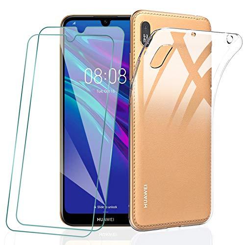 KEEPXYZ Funda para Huawei Y6 2019 + 2 Pcs Protector de Pantalla para Huawei Y6 2019 Cristal Templado, Flexible Suave Silicona Transparente TPU Carcasa + Vidrio Templado para Huawei Y6 2019