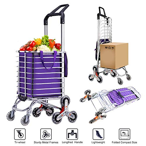 AmnoAmno Folding Shopping Cart-Stair Climbing Cart- Transit Utility Cart-Durable Folding Design for...