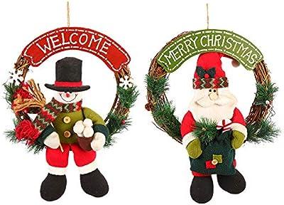 2d1436eaf5660 Chrismas Decoration Home Large Christmas Decoration Pendant Elk Snowman  Plush Doll Rattan Santa Claus Christmas Wreath