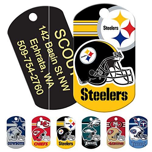 Personalized NFL Sports Team Dog Tags, Custom Engraved Pet ID Tag, Military Shape