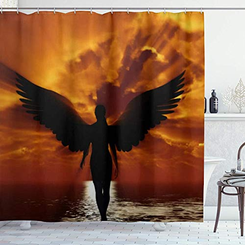 DYCBNESS Cortina de Ducha,Chica de Pelo Oscuro con alas de ángel va al Sol,Material Resistente al Agua Durable Estampa Digital Cortina de Baño Impermeable,180 x 180 cm