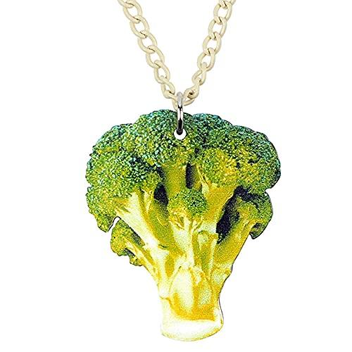 XAOQW Acrílico Brócoli Coliflor Collar Colgante Moda Alimentos Joyería Vegetal para Mujeres Niñas Regalo
