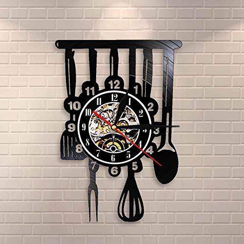 BFMBCHDJ Cubiertos Cortijo Cocina Arte Muestra Reloj de Pared Comedor Restaurante Cubiertos Decoración de Pared Utensilio Vintage Disco de Vinilo Reloj de Pared