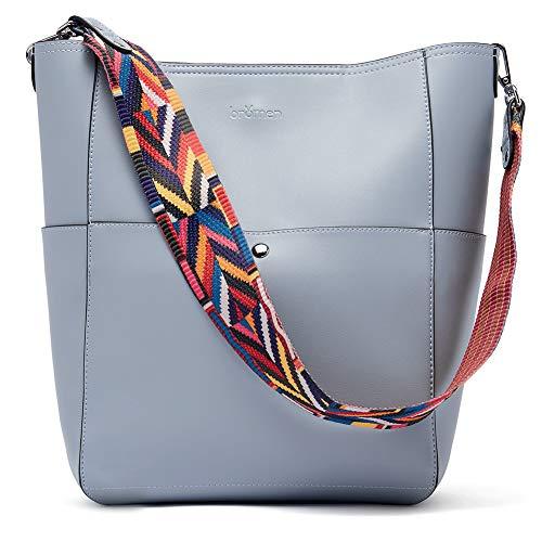 BROMEN Women Handbag Designer Vegan Leather Hobo Handbags Shoulder Bucket Cross-body Purse...