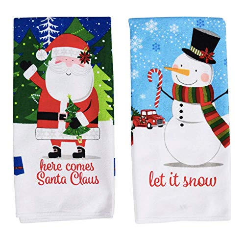 Christmas Towels Set of 2 | Christmas Dish Towels | Christmas Kitchen Towels | Christmas Hand Towels for Bathroom | Holiday Decorations Kitchen Dish Towels Decorative Towels Kitchen Santa Snowman