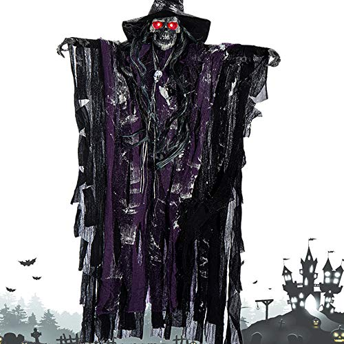 Decoración de Halloween para colgar fantasma con ojos iluminados, control de sonido de voz aterradora, accesorios para Halloween, casa encantada para interiores y exteriores