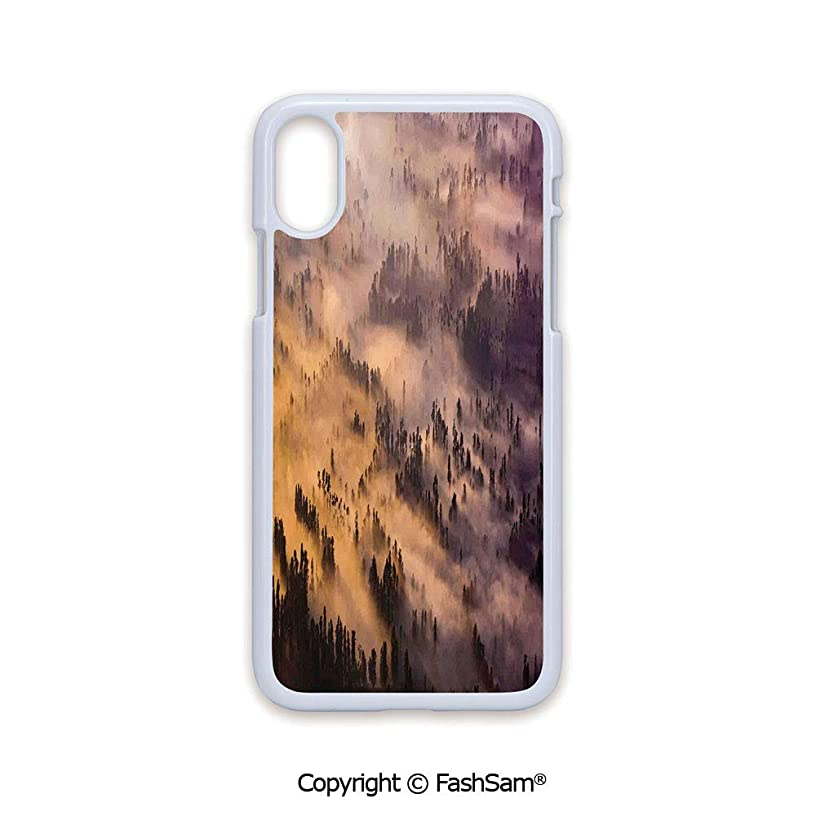 Plastic Rigid Mobile Phone case Compatible with iPhone X Black Edge Sunrise Over Foggy Mystic Forest Summer Morning Time Wildlife Scenic Picture 2D Print Hard Plastic Phone Case