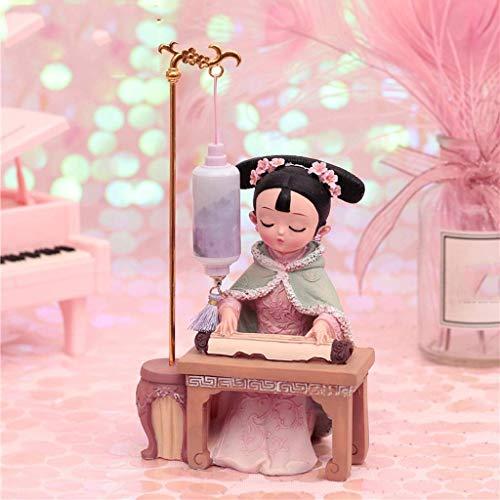 lámpara de pared, Titular Desktop Offic Decor Puppet adornos pequeños Regalos con características chinas Traje Muñecas Estatua Tocando el piano debajo de la lámpara Bookshelf Decoración de escritorio