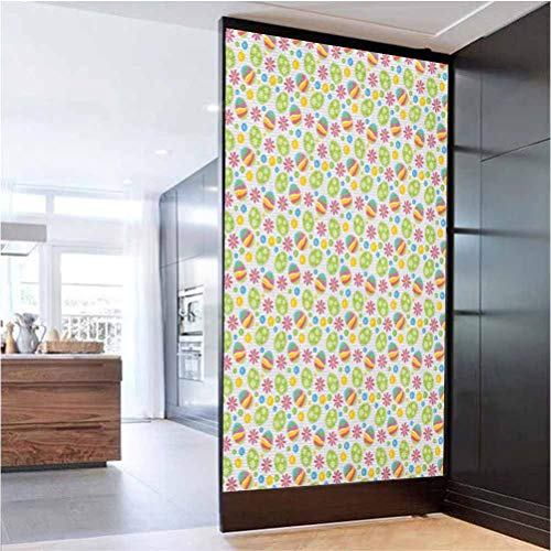 W 23.6' x L 35.4' Office Privacy Glass Film UV Blocking Heat Control Glass Sticker,Patchwork Style Graphic Scrapbook Pattern with Daisy Sewing Buttons and Egg Figures Multicolor
