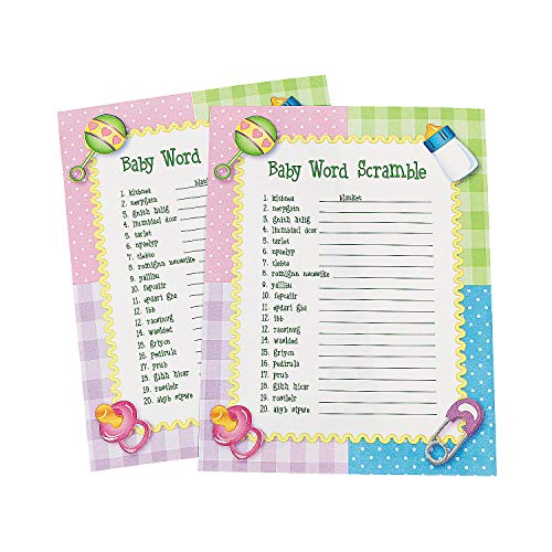 Baby Shower Word Scramble Game for Baby, 24 Playing Sheets - Baby Shower and Gender Reveal Party Games
