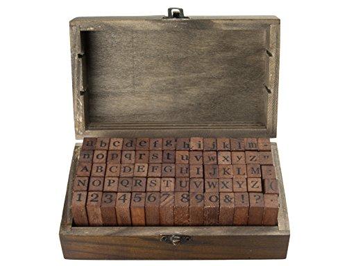 knora 70 - teiliges Vintage - Stempelset (Großbuchstaben, Kleinbuchstaben, Zahlen u. Symbole) in dekorativer Holzkiste