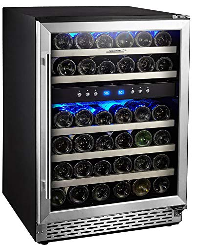 Phiestina 24 Inch Built-in or Free-standing 46 Bottle Wine Cooler Refrigerator. Pro Stainless Steel Frame & Door, Handle. Sliding Racks. Compressor Cooling with Press Button Temperature Setting