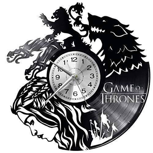 Game of Thrones Wanduhr Uhr Vinyl Schallplatte Retro-Uhr groß Uhren Style Raum Home Dekorationen Tolles Geschenk Decor Raum Inspirierende Wand Vinyl Record Kovides Vinyl Home