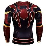 SPIDERMANHTT Camisa del hombre araña de compresión de manga larga for los hombres, 3D Digital Print Camiseta de running entrenamiento de la aptitud Tops Impresión 3D Spandex Lycra