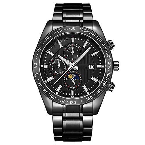Relojes Reloj de Cuarzo analógico de Acero Inoxidable para Hombre, con Calendario, Reloj de Pulsera de cronógrafo de Negocios, Vida a Prueba de Agua. A