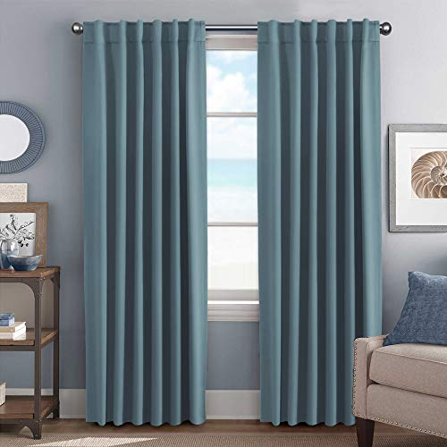 Blackout Curtains Thermal Insulated Window Treatment Panels Room Darkening Blackout Drapes for Living Room Back Tab/Rod Pocket Bedroom Draperies, 52 x 84 Inch, Stone Blue, 2 Panels