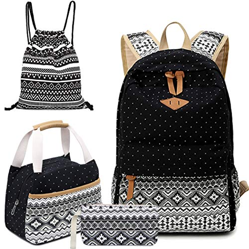 Affei School Backpack Set for Girls Boys Canvas Backpacks Teen