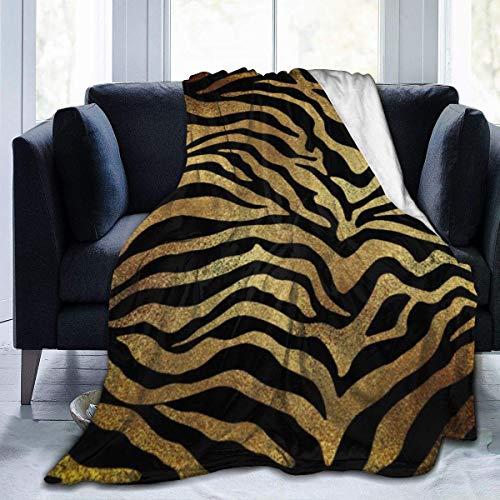 "Manta de Felpa Suave Safari African Gold Glam Zebra Piel de Animal Productos Negros Franela para el hogar Manta de Felpa Suave y cálida para Cama Sofá Sofá Oficina Camping 50""x 60"""