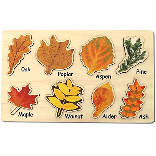 Leaf Wooden Jigsaw Puzzles Educational Learning Stem Toys Boys Girls Birthday Gift Colorful Shape