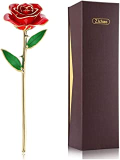 ZJchao 24K Red Rose Gift for Her Valentine's Day, Eternity Love Forever Love Real Gold Plated Rose Flower, Romantic Gift for Wife, Mom, Girlfriend, Anniversary Present, Birthday, Wedding ( Red)