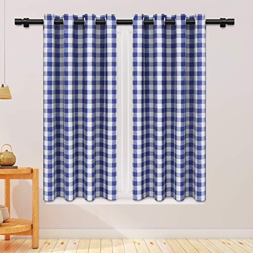 NATUS WEAVER Curtains Navy Blue and White Buffalo Gingham Check Curtain Panels 63 inches Long Living Room Drapes Plaid Checker Kitchen Bedroom Window Treatment Set 2 Panels Grommet Top